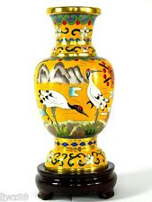 """6"""" Tall Chinese Cloisonne Copper Enameled Vase,Pair of Red-Crowned Crane Pattern"""