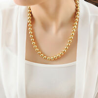 Stunning 18K Gold Filled Women Polished 10MM Solid Ball Beads Charm Necklace 20""