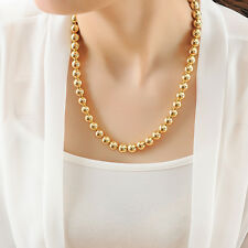 """Stunning 18K Gold Filled Women Polished 10MM Solid Ball Beads Charm Necklace 20"""""""