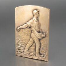 Vintage FrenchBronze Bas Relief Medal Sower Harvest Haystacks, Signed Baudichon