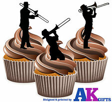 Trombone Silhouette Player Mix 12 Edible Stand Up Cup Cake Toppers Blues Jazz