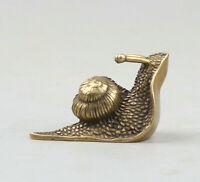 40MM Collect Curio Chinese Bronze Likable Animal Small Snail WoNiu Statue 38g 蜗牛