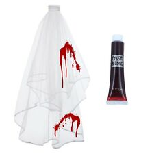 CORPSE BRIDE ZOMBIE LADIES 2 TIER WEDDING VEIL WITH COMB HALLOWEEN FANCY DRESS