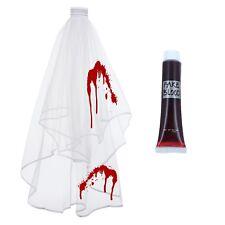 La sposa cadavere zombie donna 2 tier Velo Nuziale Con Pettine Halloween Fancy Dress