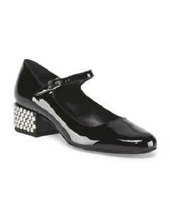New SAINT LAURENT Patent Leather Babies Mary Jane Flats Studded Heel Size 36