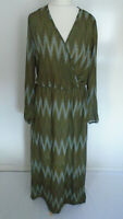 Ladies Maxi Dress Size 14/16 Green Leaf Print Elasticated Lined Holiday Long