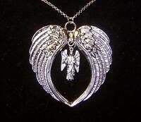 """LARGE WING ARCHANGEL ST MICHAEL PROTECT Sterling 925 Silver 24"""" chain necklace"""