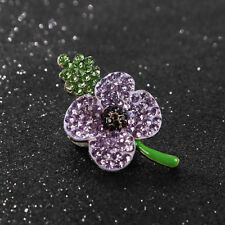 Diamante Crystal Purple Women's Poppy Brooches Pins Hero Memorial Gifts Corsage