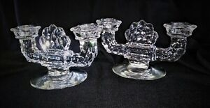Vintage Fostoria American double candle holders candlesticks clear circa 1940s