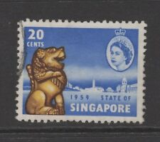 SINGAPORE 1959 20c BLUE, YELLOW & SEPIA NEW CONSTITUTION Nice Used