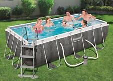 Bestway Swimming Pool 13ft Rectangular Power Steel Frame Ladder Pump BW56721