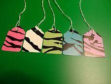 100 Zebra Print #5 Designer Price Strung Tags 5 Colors 1-1/16x1-5/8 Retail Store