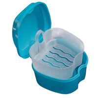Denture Bath Box Case Orthodontic Retainer Storage Case with Strainer for Travel