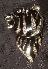 Nice Shiny Silver Rhinestone Black Enamel Tiger Head Pin Brooch