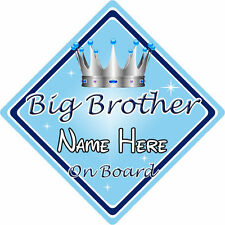 Personalizado De Niño/Bebé A Bordo Coche Firmar ~ Big Brother a bordo ~ L. AZUL