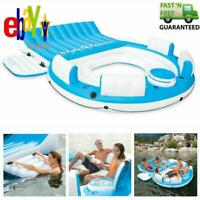 6 Person  Inflatable Floating Island W/ Cooler Lounge Lake Party Pool Raft