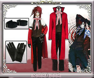 Anime Black Butler Death Shinigami Grell Sutcliff Uniform Cosplay Outfit Costume