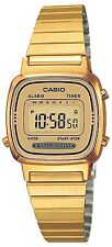 Vintage Casio LA670WGA-9D Ladies Gold Digital Womens Watch Gold NEW