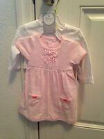 NWT Carter's baby girl 3 months dress bodysuit cardigan sweater set pink white
