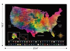 """Scratch Off Laminated U.S.A  Map 23.4"""" x 16.5"""" - PERFECT GIFT FOR TRAVELERS"""