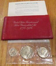 1976 Bicentennial 3 PC U.S. Mint Silver Uncirculated Set Ike $ Half Quarter