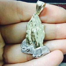 10 Quilates Oro Amarillo Macizo con Textura Talla Diamante Manos Rezando