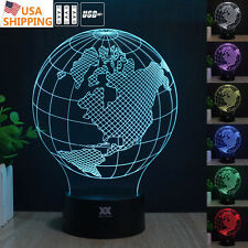 Globes America Earth 3D LED Night Light Touch Desk Table Lamp Acrylic 7 Color
