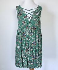 AMERICAN EAGLE Boho Floral Lace Up Ruffle Tiered Swing Shift Hippie Tank Dress S