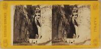 Italia Syracuse Latomie Foto Giorgio Sommer c1865 Stereo Albumina Cartoncino