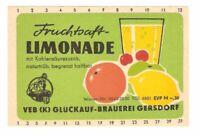 VEB (K) Glückauf-Brauerei Gersdorf, Sachsen afG DDR Fruchtsaft-LIMONADE