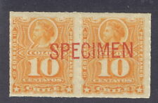Chile 1885, 10c Columbus pair, American Bank Note Co. large red SPECIMEN #29