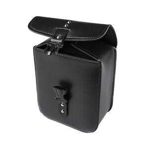 Black PU Leather Motorcycle Bag Saddle Storage Tool Box Side Case Waterproof