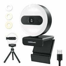 HD 2K Webcam Kamera USB mit Ringlicht Mikrofon für PC Laptop Computer Notebook