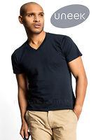 Uneek UC317 Mens Classic V Neck Casual T Shirt 100% Cotton Tee 180 GSM V Shape