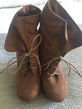 Breckelle Faux Suede High Wedge Booties Lace Up Size 10 Caramel