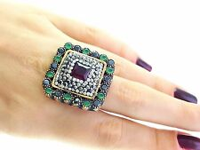 HANDMADE 925 STERLING SILVER RUBY TURKISH JEWELRY RING SIZE 8.5 R1554