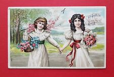 Prägedruck Litho AK PFINGSTEN 1910 Kinder Mädchen mit Blumen    ( 37959