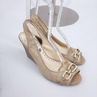 Women's Coach Shoes 10 Beige Wedge Sling Peep Toe Sandal