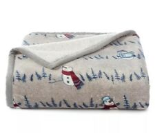 Cuddl Duds Soft Plush Sherpa Snowman Trees Woods Reversible Throw Blanket