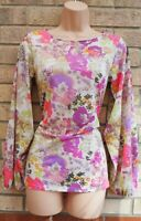 DOROTHY PERKINS PINK PURPLE GREEN CREAM FLORAL LONG SLEEVE BLOUSE T SHIRT TOP 6