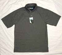 Men's Short Sleeve Performance Polo Golf Grey Shirt Wicking M - L - XL NWT