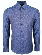 Mens Paisley Texture Long Sleeve Shirt Formal Dress Casual Was 30 Now (353 Sky Blue Cotton/blend 3xl