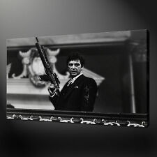 "SCARFACE BLACK AND WHITE AL PACINO POSTER BOX CANVAS PRINT 20""x16"" FREE UK P&P"