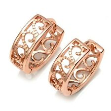 Women Vogue Earrings 14MM Hollow Hoops 18k Rose Gold Filled Hot Jewelry
