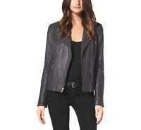 Michael Kors Moto Leather Jacket Black Gray