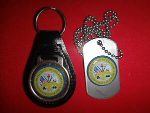 DEPARTMENT OF THE ARMY Black Leather Key Ring + Matching Dog Tag New