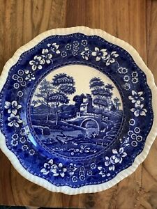 """Antique 1834 Copeland, Spode's Tower, England, Blue Gadrooned 9"""" Luncheon Plate"""