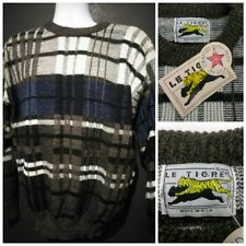 RARE New w/ Tags Vintage Le Tigre Sweater Made USA 3d Stripe Mens XL Extra Large