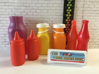 Vintage Fisher Price Milk Bottles and Other Plastic Play Food Lot Ketchup Eggs