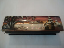 Rare Fedoskino Russian Lacquer Box CHURCH Мother of Pearl Signed M. NIKITIN